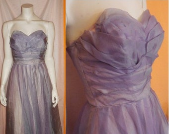 Vintage 1950s Prom Dress Purple Lilac Iridescent Nylon Pink Taffeta Strapless Sweetheart Petal Bust USA Rockabilly XS chest to 33 in.