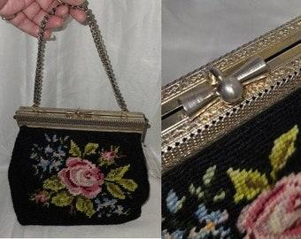 Vintage Needlepoint Purse 1940s 50s Black Embroidered Handbag Rose Floral Design Silver Chain Handle Unique Clasp Art Deco Rockabilly
