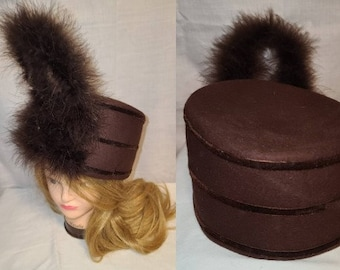 Vintage Majorette Hat 1950s Round Brown Marching Band Costume Hat Tall Marabou Feather Ornament on Front 21.5 in