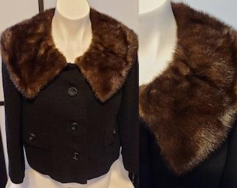 Vintage Suit Jacket 1950s 60s Black Wool Cropped Jacket Brown Mink Fur Collar Paul Parnes Rockabilly Chic L chest 41 in.