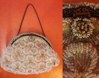 Vintage Designer Purse 1940s 50s Elizabeth Arden Beaded Evening Bag Tiny Seed Beads Faux Pearls Floral Pattern Elegant AS IS missing beads