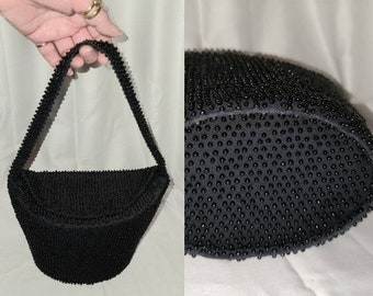 Vintage Beaded Purse 1940s 50s Black Handbag Tiny Plastic Beads Unique Oval Shape Rockabilly