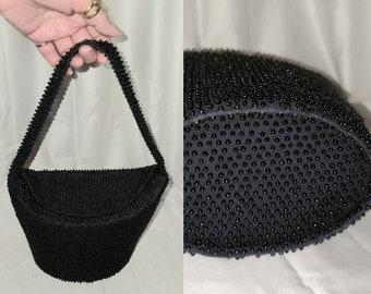SALE Vintage Beaded Purse 1940s 50s Black Handbag Tiny Plastic Beads Unique Oval Shape Rockabilly