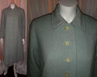 Vintage Spring Coat 1940s 50s Light Green Linen Blend Button Front Swing Coat USA Rockabilly L