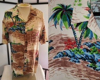 Men's Vintage Hawaiian Shirt 1990s Beige Brown Rayon Tropical Island Print Hawaiian Shirt Kensington Rockabilly Tiki L