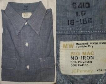 DEADSTOCK Vintage Men's Shirt 1960s 70s Blue Penneys Big Mac Work Shirt Poly Cotton Blend LS Unworn Lg 16 16.5