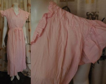 Vintage 1950s Nightgown Long Pink Rayon Nightgown Flutter Sleeves Rusching 30s Deco German Rockabilly Pinup S chest to 36