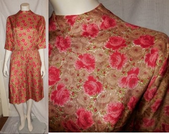 SALE Vintage 1950s Dress Brown Pink Rose Print Long Sleeve Dress Full Skirt High Neck Modest Rockabilly S chest to 36 in.