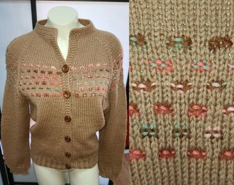Vintage Handknit Sweater 1960s Chunky Brown Knit Cardigan Wood Buttons Colored Dash Detail Rockabilly Boho L chest 41 in.