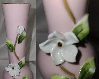 Vintage 1950s Vase Small Pink Lefton Bud Vase White 3D Flowers Gold Trim Made in Japan Knick Knack Rockabilly