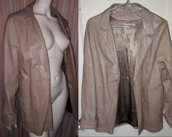 Vintage Leather Jacket 1950s 60s Beige Buff Leather Clutch Jacket Open Front New England Sports Wear Rockabilly Boho M chest to 38 in.