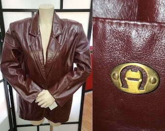 Vintage Leather Jacket 1970s Designer Etienne Aigner Oxblood Leather Blazer Jacket Gold Metal Logo Boho M chest to 38 in.