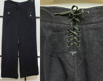 Vintage US Navy Pants 1940s WWII Dark Blue Wool Button Sailor Bell Bottom Trousers Naval Clothing Factory Rockabilly waist 29 inches