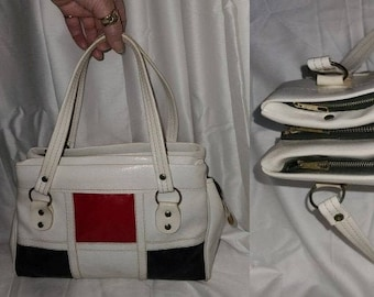 SALE Vintage 1960s Purse Large White Vinyl Red Black Grid Pattern Handbag Mod Mondrian
