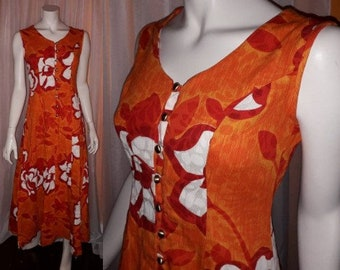 Vintage 1960s Hawaiian Dress Long Orange Red White Floral Halter Maxi Dress Gown Round Gold Buttons USA Hippie Boho Festival S
