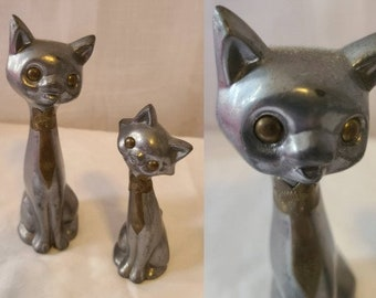 Set of Vintage Metal Cat Figurines 2 1960s 70s Small Silver and Brass Brass Cat Statuettes Mod Boho