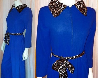 Vintage 1960s Jumpsuit Blue Fleece Nylon Leopard Print Collar and Belt Wide Leg Lingerie Hostess Outfit USA Mod Pinup M chest to 37 in.