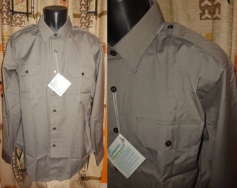 DEADSTOCK Vintage Men's Police Shirt 1960s 70s Gray Conquerer Police Shirt Unworn NWT L chest to 49 in. Neck 17 in.