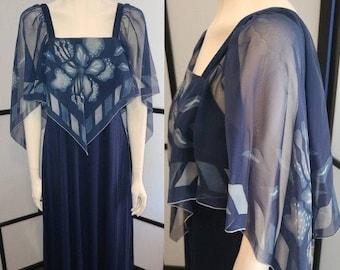Vintage Scarf Dress Long 1970s Dark Blue Polyester Dress Gown Flowy Patterned Chiffon Scarf Top Maxidress Disco Stevie Nicks Boho M L