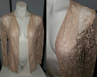 Vintage Lace Jacket 1940s Sheer Light Pink Floral Pattern Lace Open Blouse Art Deco Rockabilly M chest 38 in.