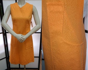 Vintage 1960s 70s Dress Bright Orange Minidress Textured Polyester Large Pockets Mod Go Go S chest 36 in.