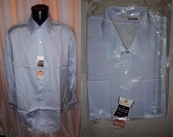 Unworn Vintage Men's Shirt 1950s Light Blue Sanforized Long Sleeve Shirt French Cuffs NWT Dress Shirt Seidensticker German Rockabilly M L 41