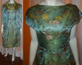 Vintage 1950s Dress and Jacket Pale Green Asian Silk Satin Brocade Sheath Wiggle Dress Matching Jacket Belt German Rockabilly Pinup M