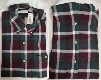DEADSTOCK Vintage Men's Shirt 1990s Andhurst Maroon Green White Plaid Cotton Flannel Shirt Unworn NWT Grunge Rockabilly L