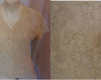 Vintage 1930s Blouse Cream Floral Embroidered Lace Net Short Sleeve Top German Art Deco Rockabilly S M chest 37 in.