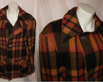Vintage Wool Jacket 1950s 60s Wool Plaid Car Coat Muted Orange Green Rockabilly Large chest to 40 inches
