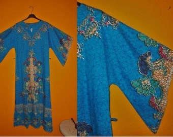 SALE Vintage 1960s 70s Dress Long Blue Thin Cotton Patterned Dashiki Dress Huge Sleeves Hippie Boho Festival Karneval Fasching M