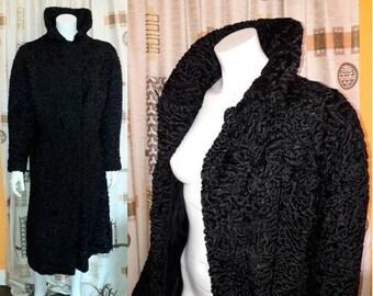 Vintage Fur Coat 1950s 60s Long Black Persian Lamb Fur Coat Satin Lining Furrier Made Quality Boho Fur Coat L
