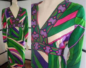 Vintage 1960s Dress Long Nylon Polyester Psychedelic Geometric Print Gown Purple Green White Avalon Classics Mod Boho M chest 38 in.