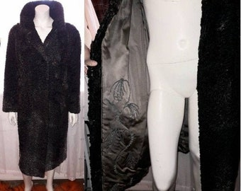 Vintage Fur Coat 1960s Long Dark Gray Persian Lamb Fur Coat White Highlights Embroidered Satin Lining Boho Fur Coat L chest to 44 in.