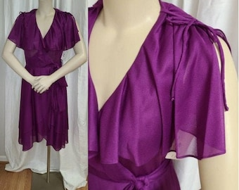Vintage 1970s Dress Magenta Thin Polyester Wrap Dress Flutter Sleeves Disco Saturday Night Fever S Petite