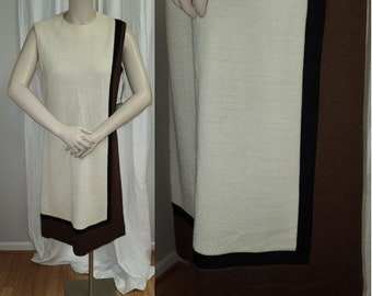 Unworn Vintage 1960s Dress Geometric Wool Blend Sheath Dress Cream Brown Black NWT Mod Op Art M L chest hips 39 in.