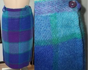 Vintage 1950s 60s Skirt Blue Purple Plaid Wool Mohair Pencil Skirt Rockabilly Pinup Mid Century M L waist 30 in.