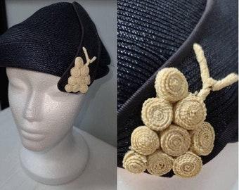 Vintage 1930s 40s Hat Small Dark Round Dark Blue Asymmetric Straw Hat Cream Ornament Semi Cloche Hat Art Deco Rockabilly 22 in.