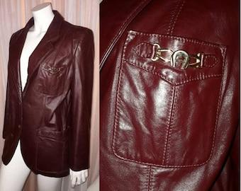 Vintage Leather Jacket 1970s Designer Etienne Aigner Dark Brown Oxblood Leather Blazer Jacket Hardware Logo Boho L chest to 40 in.