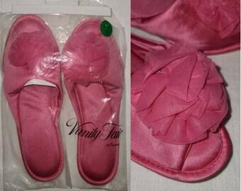 Unworn Vintage Slippers 1960s Hot Pink Vanity Fair Nylon Rosette Bedroom Slippers NIP Rockabilly Pinup Drag XL 9.5 10.5