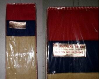 Unused Vintage Men's Handkerchief Set of 3 1970s Red Navy Blue Mustard Yellow Hankies Cotton Poly Blend NIP Rockabilly