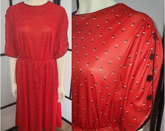 Vintage 1970s 80s Dress Red Polyester Summer Dress Small Abstract Dot Print Button Sleeve Details Boho XL