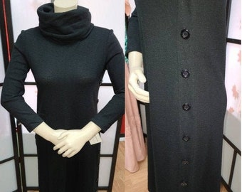 Vintage Wool Dress 1960s 70s Black Wool Turtleneck Dress Back Zip Side Button Detail Hear Say Boho Mod Beatnik S chest 36 in.