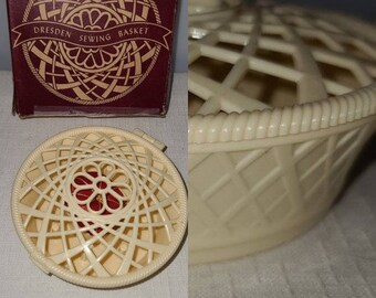 Vintage Dresden Sewing Basket 1930s Small Round Open Woven Cream Plastic Celluloid Sewing Basket in Box with Pincushion in Box Art Deco