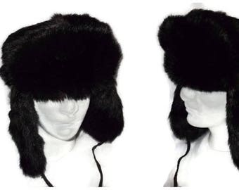 5ccffb3981a SALE Vintage Men s Fur Hat 1970s 80s Fluffy Black Fur Hat Trapper Hat  Unisex Russian Style Earflap Hat Warm Winter Hat High Quality 24 in