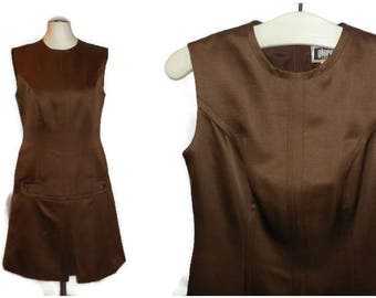 SALE Vintage 1960s Dress Great Little Brown Mod Sheath Dress Jewel Buttons German Etui Kleid Boho S hips to 36 inches