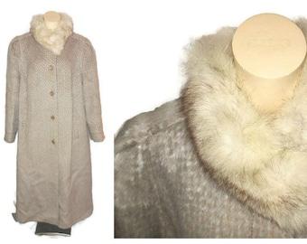 SALE Llama Hair Coat Long 1980s Long Llama Coat White Fox Fur Collar Sleek 80s Style German Adler L XL
