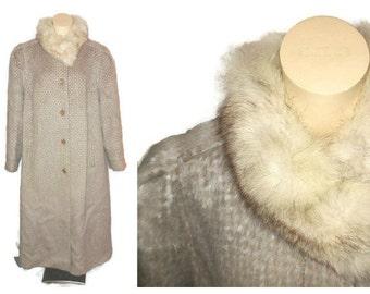 Vintage Llama Hair Coat Long 1980s Long Llama Coat White Fox Fur Collar Sleek 80s Style German Adler L XL