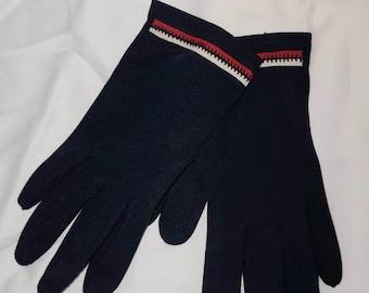 Vintage Gloves 1960s Blue Nylon Stretch Gloves Red White Trim Patriotic July 4 USA Mod sz 6.5 or so