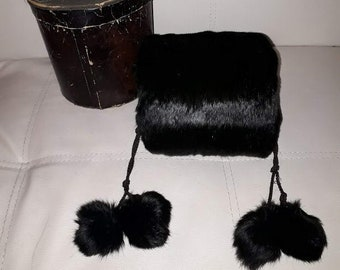Antique Fur Muff Possibly Unused Child's Black Fur Muff with Pom Poms in Original Box German Victorian Edwardian Jugendstil some shedding